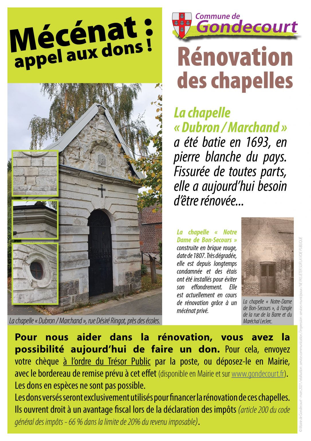 Affiche restauration des chapelles
